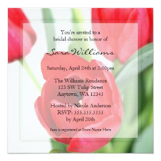 Red Tulips Bridal Shower 13 Cm X 13 Cm Square Invitation Card