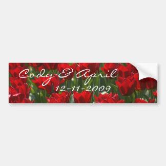 Red Tulips Bumper Sticker Bride And Groom Car Bumper Sticker
