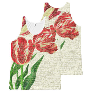 Red Tulips Calligraphy All-Over Print Singlet