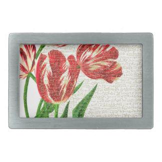 Red Tulips Calligraphy Belt Buckle