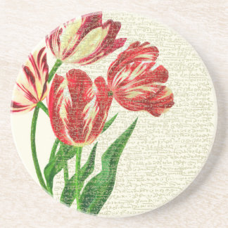 Red Tulips Calligraphy Coaster