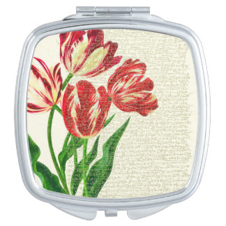 Red Tulips Calligraphy Compact Mirror
