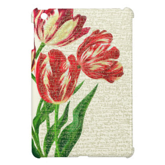 Red Tulips Calligraphy iPad Mini Cover
