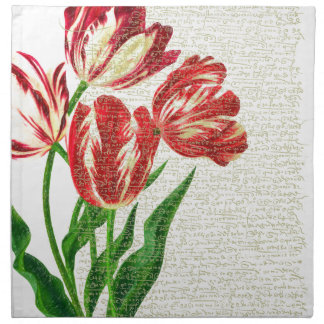 Red Tulips Calligraphy Napkin