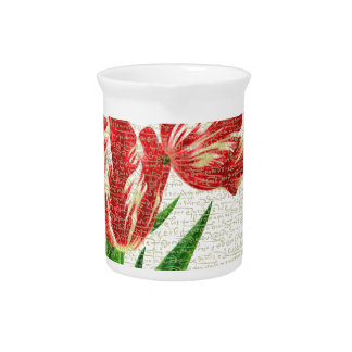 Red Tulips Calligraphy Pitcher