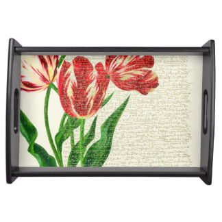 Red Tulips Calligraphy Serving Tray