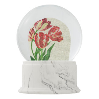 Red Tulips Calligraphy Snow Globes