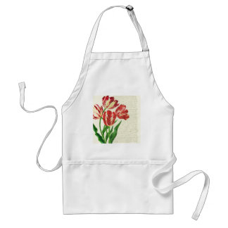 Red Tulips Calligraphy Standard Apron