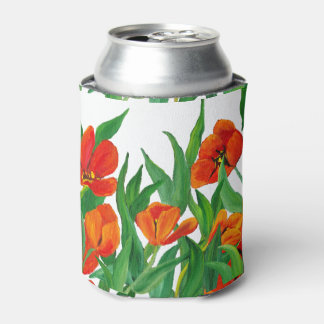 Red Tulips Can Cooler