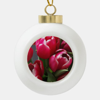 Red Tulips Ceramic Ball Decoration