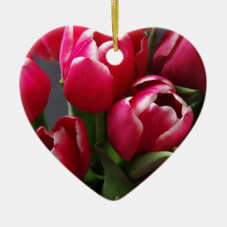Red Tulips Ceramic Heart Decoration