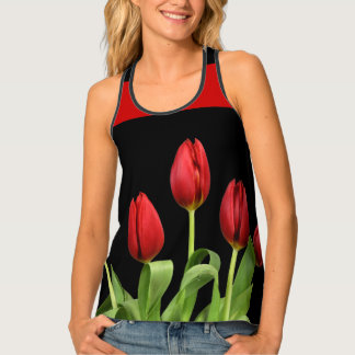 Red Tulips Choose Accent Color Singlet