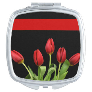 Red Tulips Choose Accent Color Travel Mirrors