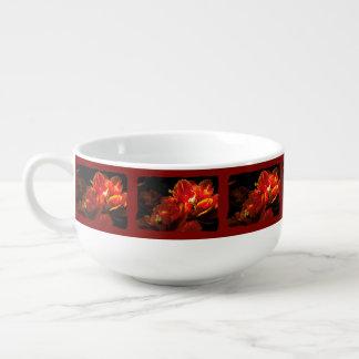 Red tulips dark background soup mug