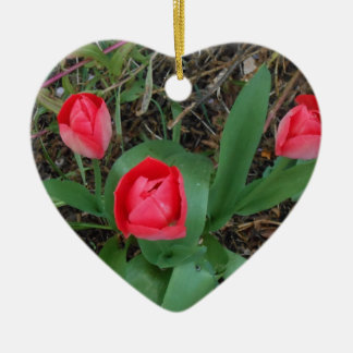 Red Tulips Double-Sided Heart Ceramic Christmas Ornament