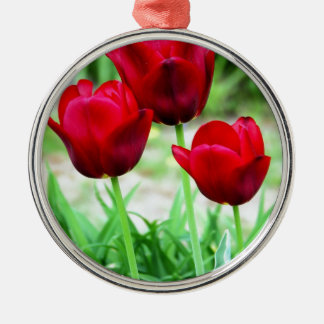 Red Tulips Christmas Tree Ornament