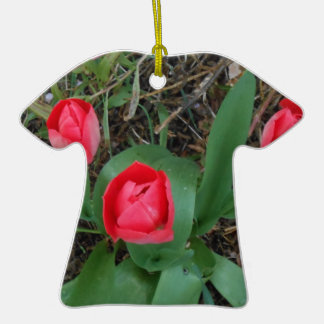 Red Tulips Double-Sided T-Shirt Ceramic Christmas Ornament