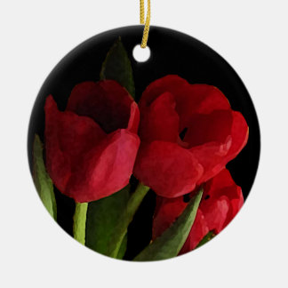 Red Tulips Ornaments