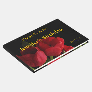 Red Tulips Floral Birthday Party Guest Book