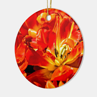 Red Tulips Flowers Ceramic Ornament