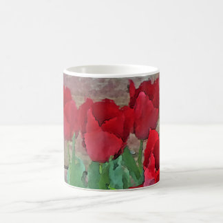 Red Tulips Flowers Petals Bloom by SD Kelley Basic White Mug