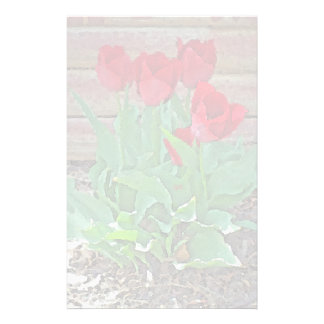 Red Tulips Flowers Petals Bloom by SD Kelley Stationery Design