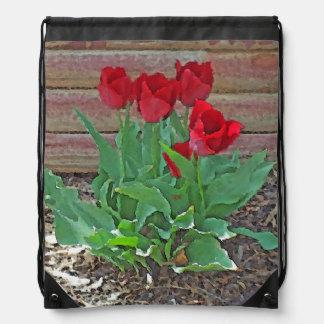 Red Tulips Flowers Petals Bloom in their Prime Cinch Bags