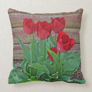 Red Tulips Flowers Petals Bloom in their Prime Pillow