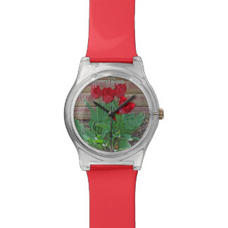 Red Tulips Flowers Petals Bloom in their Prime Wrist Watches
