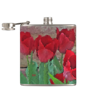 Red Tulips Flowers Petals Bloom in their Prime Flask