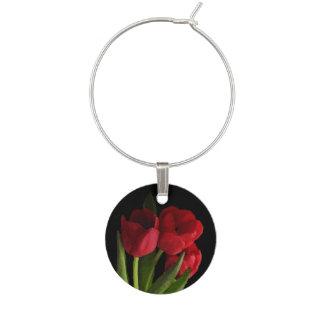 Red Tulips Garden Flower Floral Wine Charm