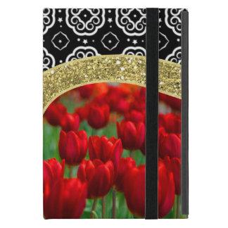 Red Tulips Gold Glitter BW Decorative Pattern iPad Mini Cover