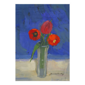 Red tulips in Blue Poster