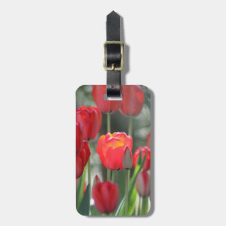 Red Tulips Luggage Tag Personalised