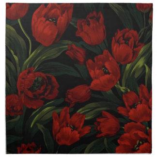 Red Tulips on Black Napkin