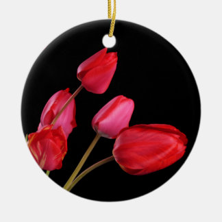 """Red Tulips on Black"" Ornament"