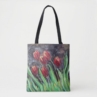 Red Tulips Original Art Flower Tote Bag