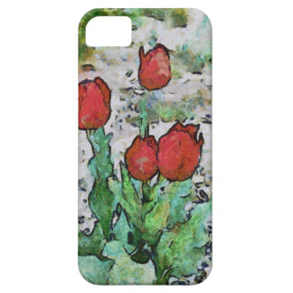Red tulips painting iPhone 5 case