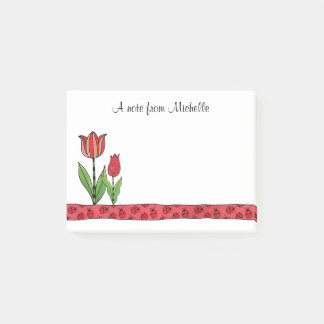 Red Tulips Personalized Post-it Notes