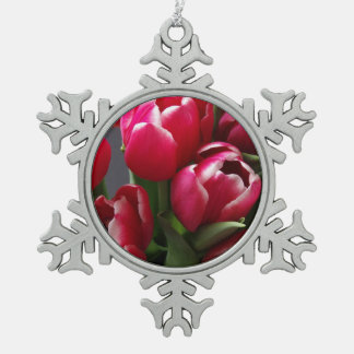 Red Tulips Snowflake Pewter Christmas Ornament