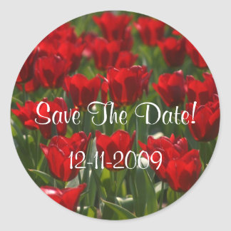 Red Tulips Save The Date Stickers Small