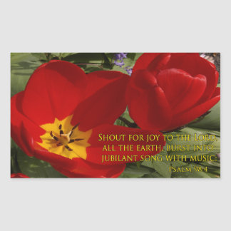 red tulips shout - psalm 98:4 rectangular sticker