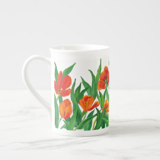 Red Tulips Tea Cup