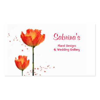 Red Tulips Watercolor Floral Desgin Business Card