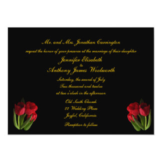 "Red Tulips Wedding 5.5"" X 7.5"" Invitation Card"