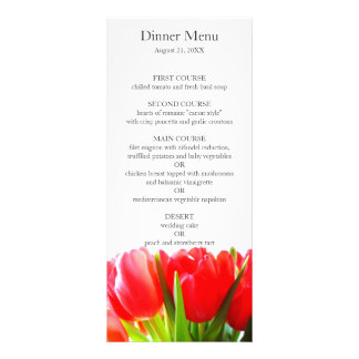 Red Tulips Wedding Menu Custom Rack Cards