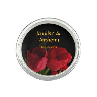 Red Tulips Wedding Rings