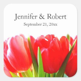 Red Tulips Wedding Sticker