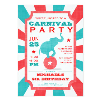 Red | Turquoise Carnival Party Big Top Birthday Card