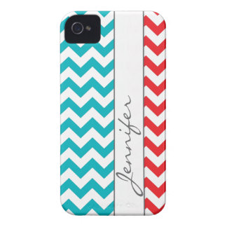 Red & Turquoise Chevron Name iPhone 4/4s iPhone 4 Case-Mate Cases